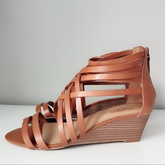 Brown Tan Strappy Wedge Sandals | Poshmark